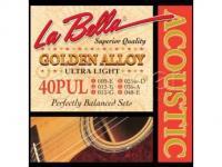 Струны для акустической гитары La Bella 40PUL Golden Alloy, бронза, Ultra Light, 9-48