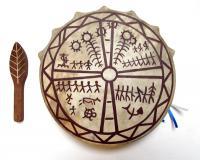 Бубен шаманский с рисунком, Хакасия, 20 см (Ч)