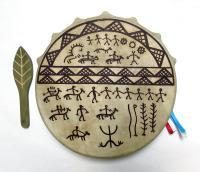 Бубен шаманский с рисунком, Хакасия, 25 см (Ч)