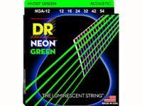 Струны для акустической гитары фосфорная бронза с покрытием, 12-54, NGA-12 Neon Green, DR